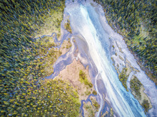 Aerial View Of Bow River Tributary, Banff National Park, Alberta, Canada