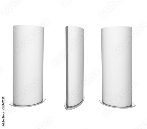 Curved totem poster light advertising display. 3d render illustration. Fototapete