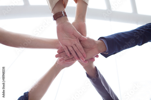 Fototapety, obrazy: Teamwork people touch hands for unity group to succuss business.
