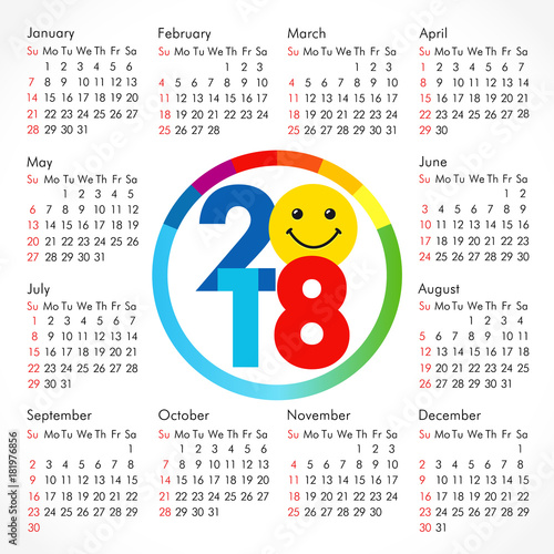2018 office smiling calendar for whole year  Celebrating