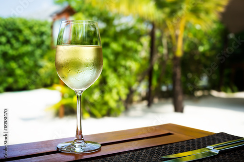 Glass with cold white wine
