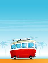 Hippie Cartoon Minivan With A Surfboard On The Roof