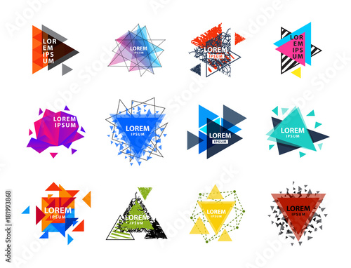 Fotografie, Tablou Sacred geometry triangle abstract logo figures elements mystic polygon creative