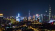 night time illuminated famous shanghai pudong cityscape aerial panorama 4k china