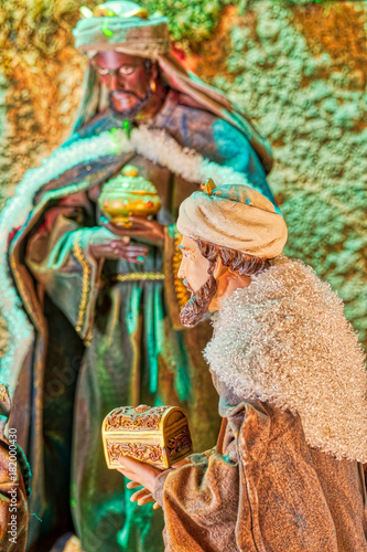 wise men of Christmas Nativity scene Fototapet