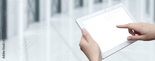 Woman holding digital tablet. Isolated screen. Business Internet Technology concept
