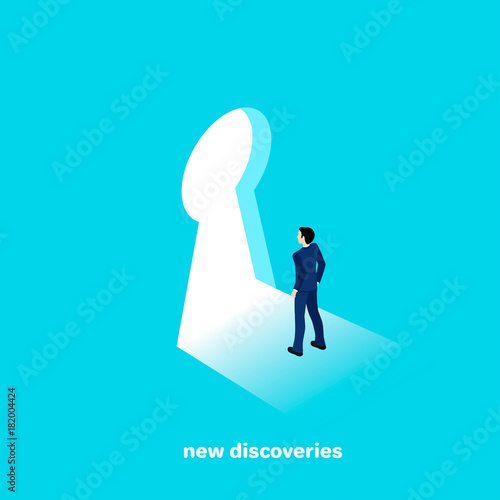 man in a business suit goes to new discoveries, isometric style Poster Mural XXL