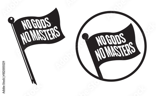 Valokuvatapetti No Gods No Masters Black Flag Icons