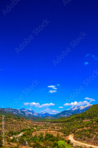 Foto op Plexiglas Donkerblauw Mountains landscape on a sunny day