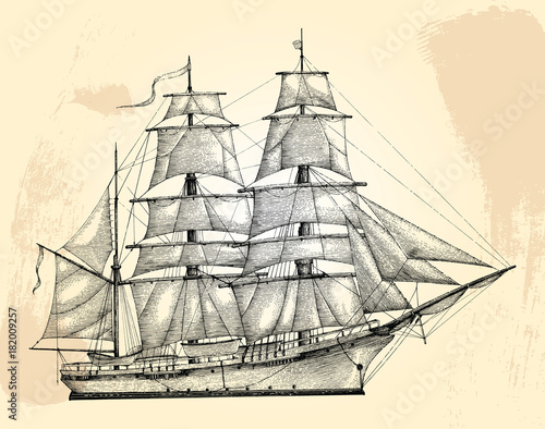 Fényképezés Barque hand drawing engraving style,Vintage barque isolate