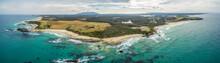 Aerial Panorama Of Ocean Coastline At Narooma, New South Wales, Australia