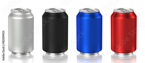 Photo aluminum can isolated on white background, 3D rendering