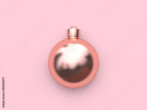 3d Rendering Christmas Ball Pink Metallic Rose Gold Holiday Concept Background
