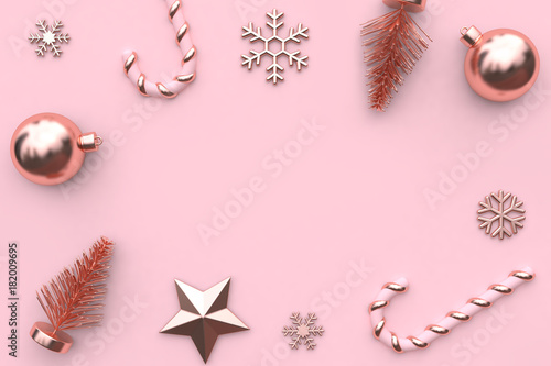 Pink Christmas Background Star Tree Snow Candy Blank Space 3d Rendering
