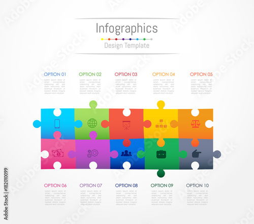 Infographic design elements for your business data with 10 options, parts, steps, timelines or processes Wallpaper Mural