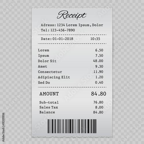Fotografia, Obraz  vector paper check, sell receipt or bill template