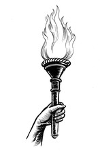 Hand With A Flaming Torch. Ink Black And White Illustration.