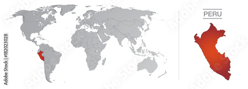 Photo Peru in the world, with borders and all the countries of the world separated