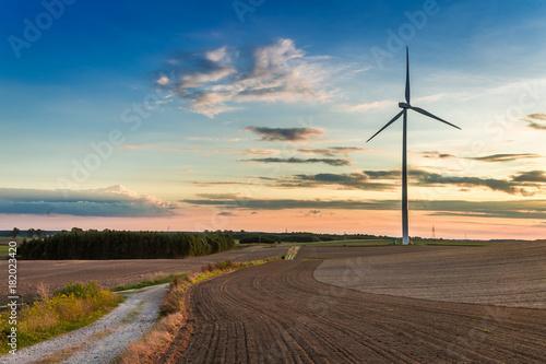 Zdjęcie XXL Zadziwiający zmierzch przy brązu polem z silnikiem wiatrowym w jesieni