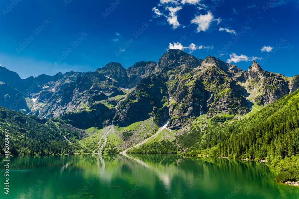Fototapety, obrazy: Famous green pond in the mountains at sunrise in Poland