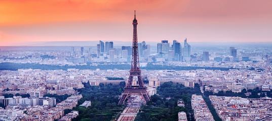 Paris, France. Charming sunset city skyline.