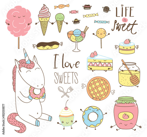 Photo  Set of different hand drawn sweet food doodles, with kawaii cartoon faces, wings, arms and legs, unicorn eating donut, typography