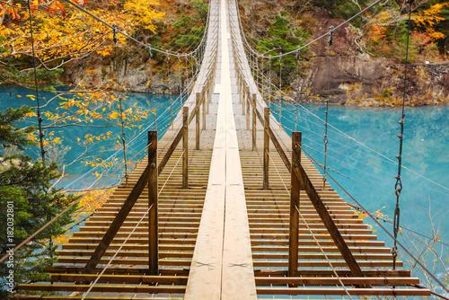 渓谷の風景、ダム湖にかかる橋、寸又峡。