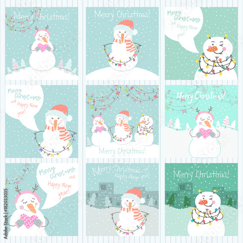 collection of 9 cute merry christmas and happy new year ready to use gift