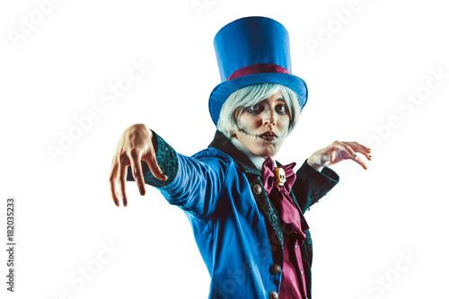 Sad gesticulating circus actor in blue tuxedo Canvas Print