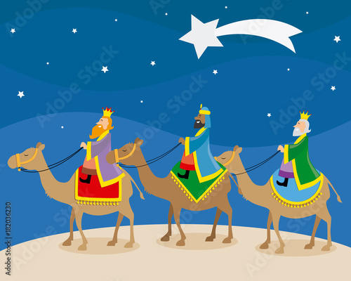 The three wise men of orient climbed on camels Fotobehang