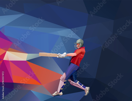Stampa su Tela Abstract cricket player polygonal low poly illustration