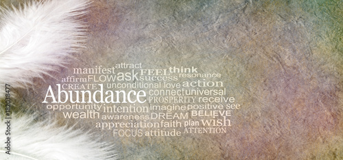 Obraz Angelic Abundance Word Cloud - two white feathers and an ABUNDANCE word cloud against a rustic subtle colored stone effect  background with copy space