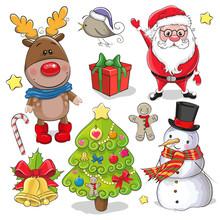 Set Of Cute Christmas Design E...