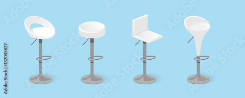 Set of white bar stools Canvas Print