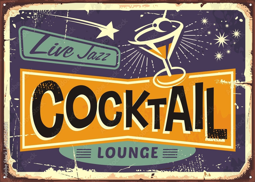Fototapeta Cocktail lounge retro sign design with martini glass and creative typo