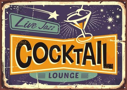 Fototapeta Cocktail lounge retro sign design with martini glass and creative typo obraz