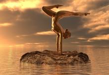 Statue Golden Girl Doing Yoga At Sea 3d Illustration