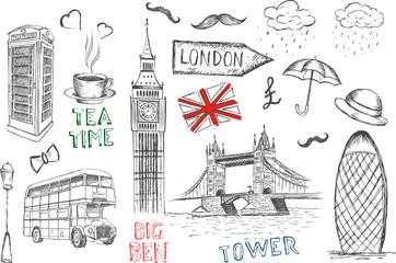 Fototapeta Set of England symbols.