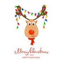 Head Of Reindeer With Christmas Lights