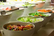 Salad Bar. Fresh Vegetables In...