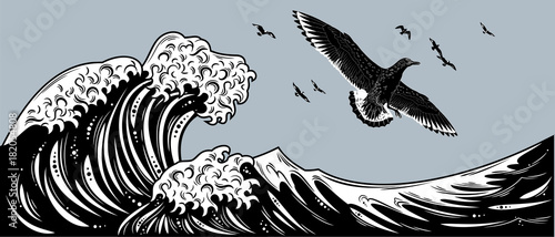 Fotografía The shearing petrel floating in the sky above the waves