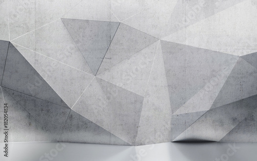 abstract interior wall with polygonal pattern - fototapety na wymiar