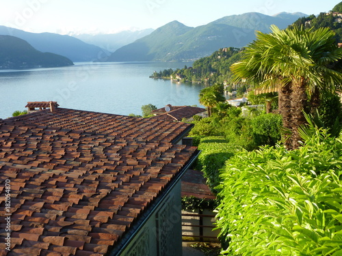 Fotografie, Obraz  Blick über die Dächer von Luino-Brezzo di Bedero auf den nördlichen Lago Maggior