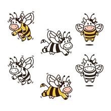 Cow Bee Cartoon Mascot Set Bun...