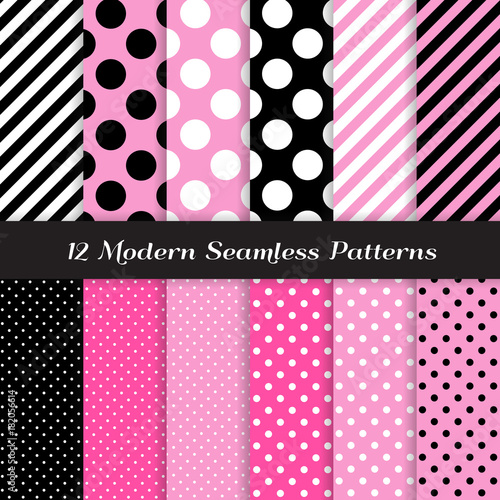 Photo  Jumbo Polka Dots, Small Polka Dots and Diagonal Stripes Patterns in Pink, Black, White and Deep Pink