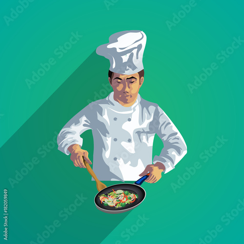 Photo  chief cooker flat design