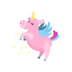 Cute cartoon pink magic unicorn pegasus vector Illustration