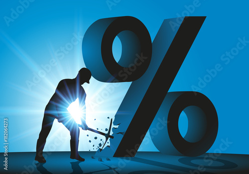 Plakat do biura rachunkowego  soldes-pour-cent-argent-casser-prix-casses-pourcentage-concept-faillite