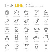 Collection Of Drinks Thin Line...