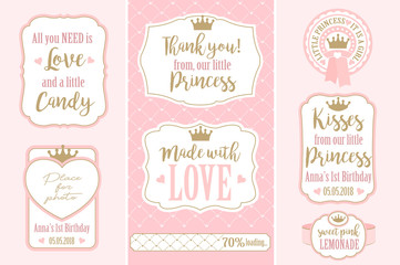 Set of vector vintage frames. Templates gift tags for royal party( wedding, baby and bridal shower, birthday) Candy wrappers, stickers, labels for little princess sweet table. Golden crown and pink
